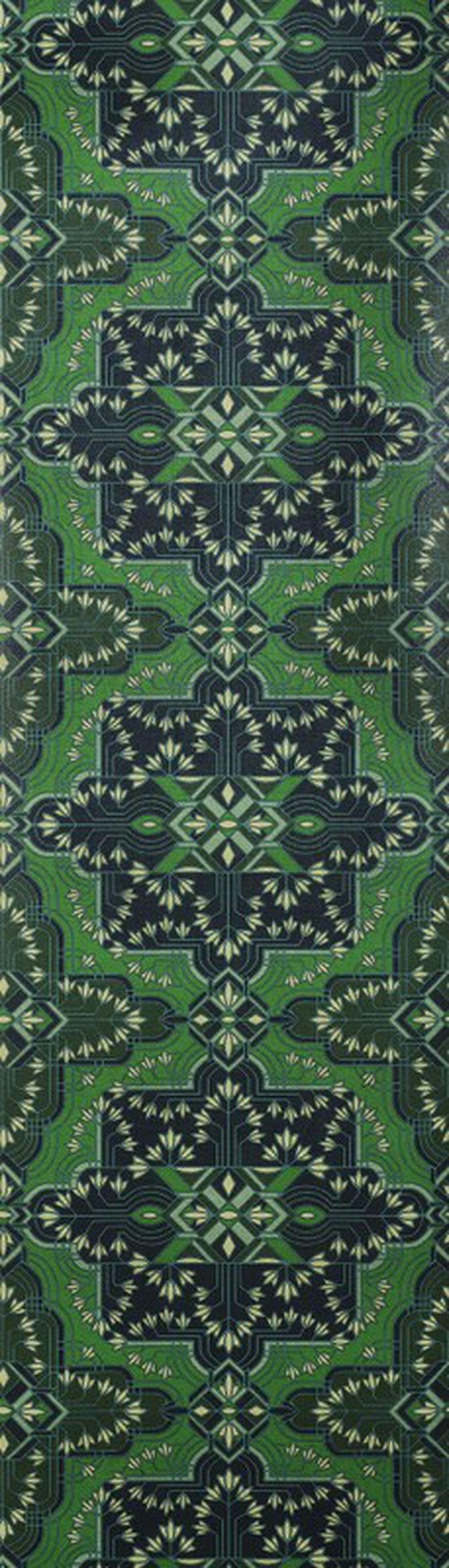 Photo of the fabric Majorelle Wallpaper Emerald swatch by Catherine Martin by Mokum. Use for Wall Covering. Style of Decorative, Geometric, Pattern, Print