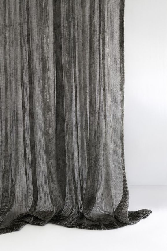 Photo of the fabric Hessian* Black Birch in situ by Mokum. Use for Sheer Curtains. Style of Abstract, Pattern, Sheer, Texture