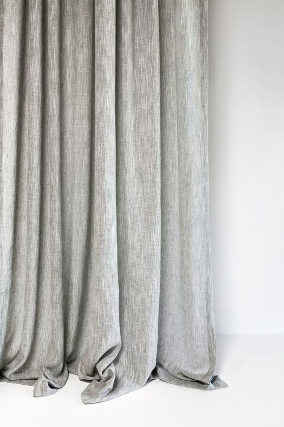 Photo of the fabric Rhythm Silver in situ by Mokum. Use for Sheer Curtains. Style of Plain, Sheer, Texture