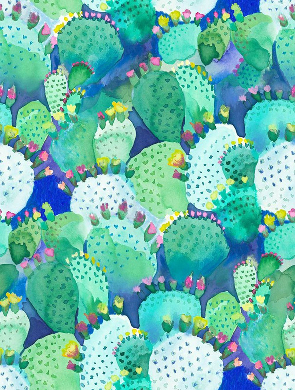 Photo of the fabric Cactus Cactus swatch by Bluebellgray. Use for Curtains, Upholstery Medium Duty, Accessory. Style of Floral And Botannical, Pattern, Print