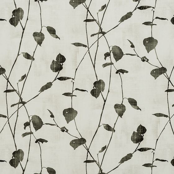 Photo of the fabric Linfield FR Charcoal swatch by James Dunlop Essentials. Use for Curtains, Accessory. Style of Dim Out, Floral And Botannical, Pattern, Print