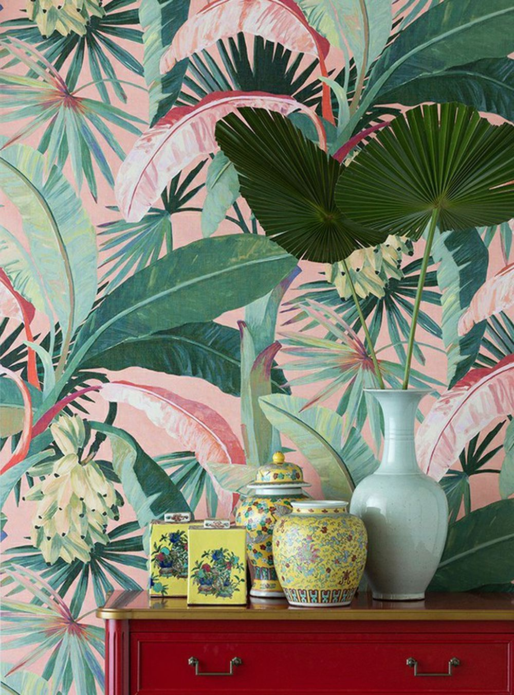 Photo of the fabric La Palma Wallpaper Coral in situ by Catherine Martin by Mokum. Use for Wall Covering. Style of Decorative, Floral And Botannical, Pattern, Print
