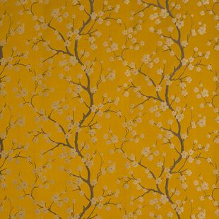 Photo of the fabric Cherry Blossom Amber swatch by James Dunlop. Use for Drapery, Upholstery Light Duty, Accessory. Style of Decorative, Pattern