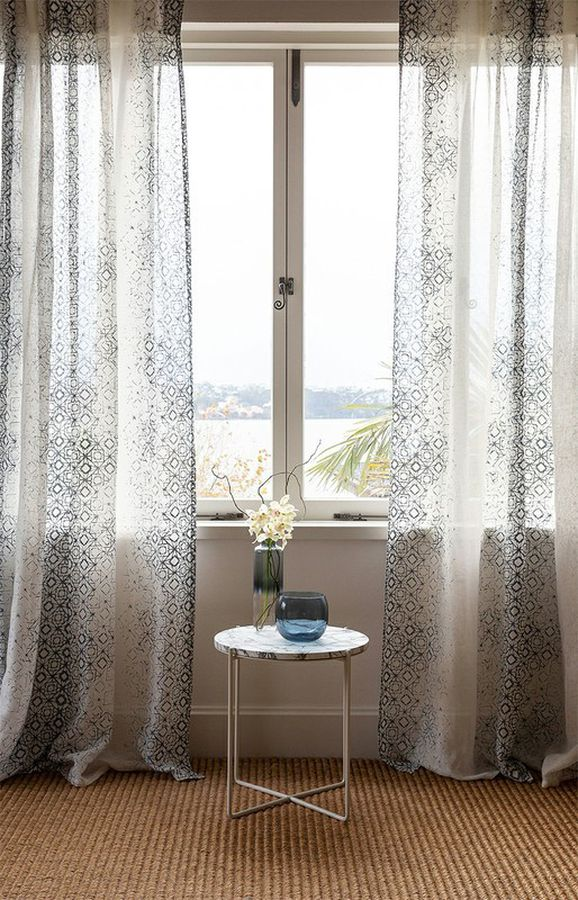 Photo of the fabric Arctic* Cinder in situ by James Dunlop. Use for Sheer Curtains. Style of Decorative, Pattern, Print