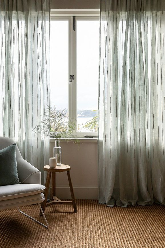 Photo of the fabric Tidal* Linen in situ by James Dunlop. Use for Curtains. Style of Plain, Texture
