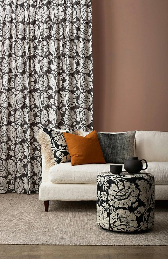 Photo of the fabric Chelsea Charcoal in situ by James Dunlop. Use for Drapery, Upholstery Medium Duty, Accessory. Style of Decorative, Pattern, Print