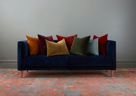 Photo of the fabric Vienna Carmen in situ by James Dunlop. Use for Drapery, Upholstery Heavy Duty, Accessory. Style of Plain, Velvet