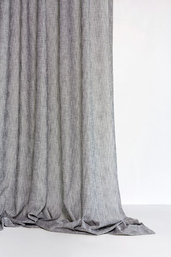 Photo of the fabric Shoji Dove Grey in situ by Mokum. Use for Sheer Curtains. Style of Plain, Sheer, Texture