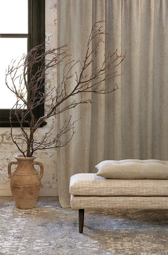 Photo of the fabric Azulejo Ricepaper in situ by Mokum. Use for Drapery, Accessory. Style of Damask, Pattern