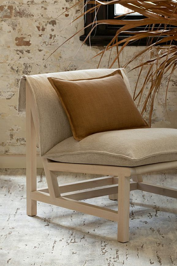 Photo of the fabric Otto Blush in situ by Mokum. Use for Upholstery Medium Duty, Accessory. Style of Plain, Texture
