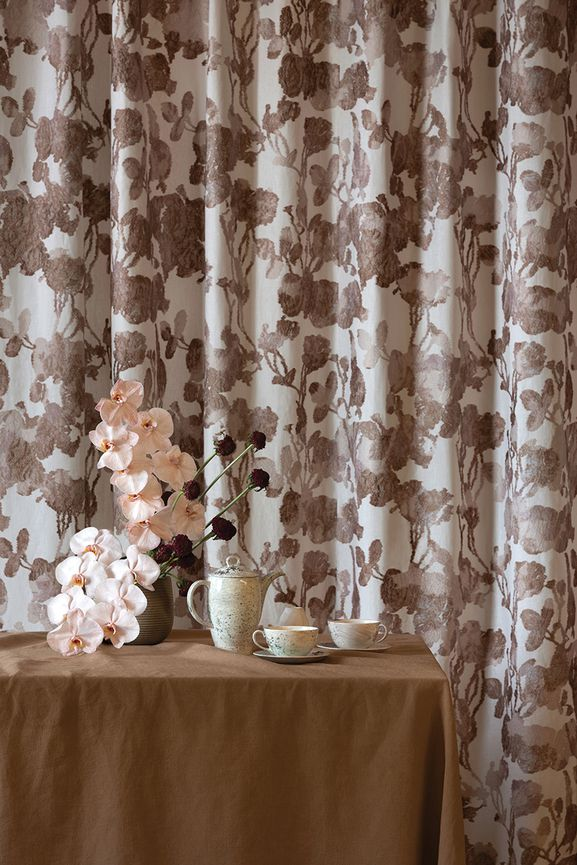 Photo of the fabric Shalimar Copenhagen in situ by Mokum. Use for Drapery, Accessory. Style of Abstract, Decorative, Embroidery, Pattern