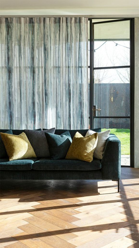 Photo of the fabric Viewpoint* Sulphur in situ by James Dunlop. Use for Sheer Curtains. Style of Pattern, Print, Sheer, Stripe