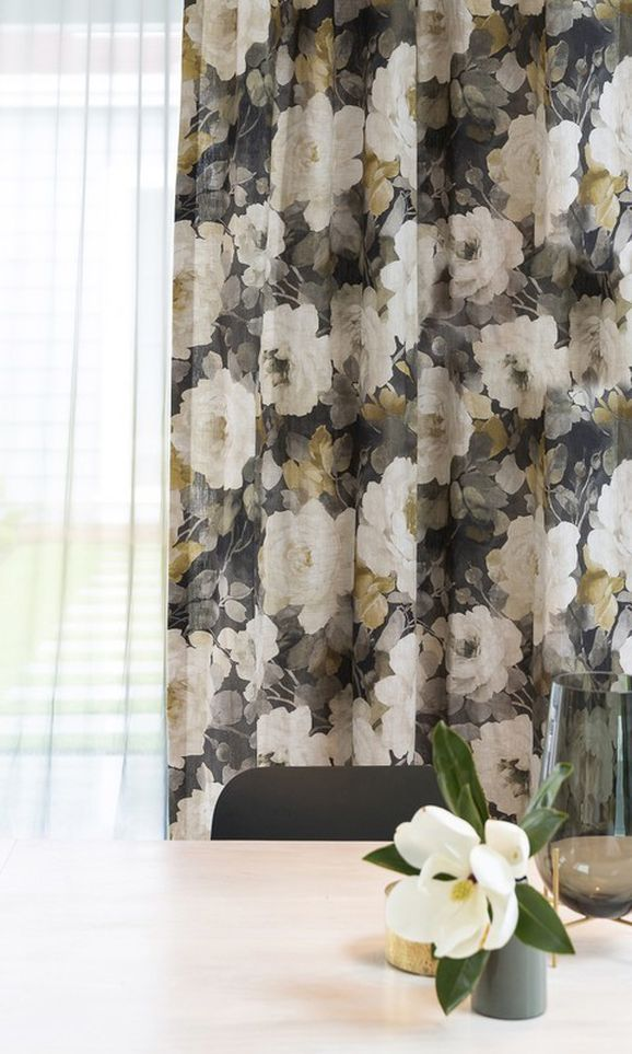 Photo of the fabric Victoria Sapphire in situ by James Dunlop. Use for Curtains, Accessory. Style of Floral And Botannical, Pattern, Print