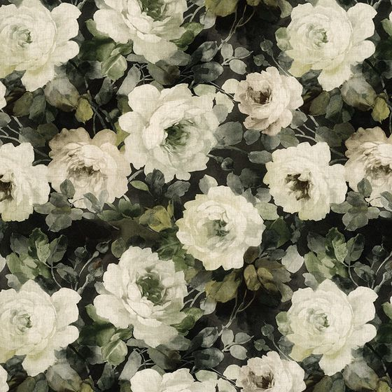 Photo of the fabric Victoria Emerald swatch by James Dunlop. Use for Curtains, Accessory. Style of Floral And Botannical, Pattern, Print