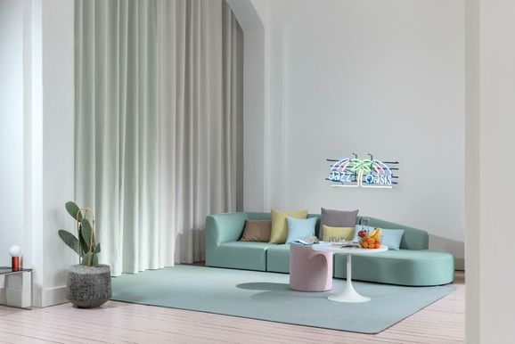 Photo of the fabric Lexicon Aluminium in situ by FR-One. Use for Curtains, Accessory, Top of Bed. Style of Plain