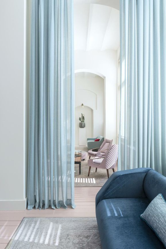 Photo of the fabric Lucidity Charcoal in situ by FR-One. Use for Sheer Curtains. Style of Plain, Sheer, Texture