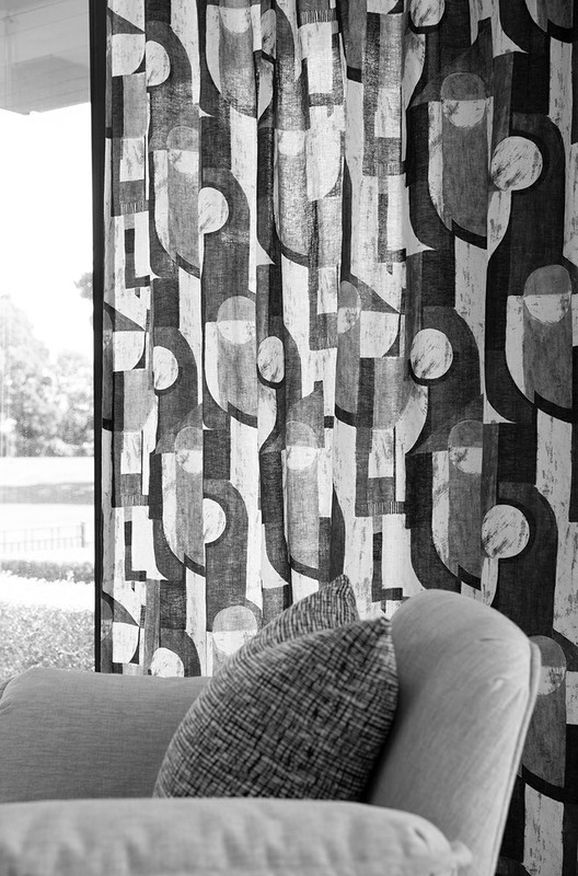 Photo of the fabric Chromatic Shadow in situ by James Dunlop. Use for Curtains, Accessory. Style of Geometric, Pattern, Print