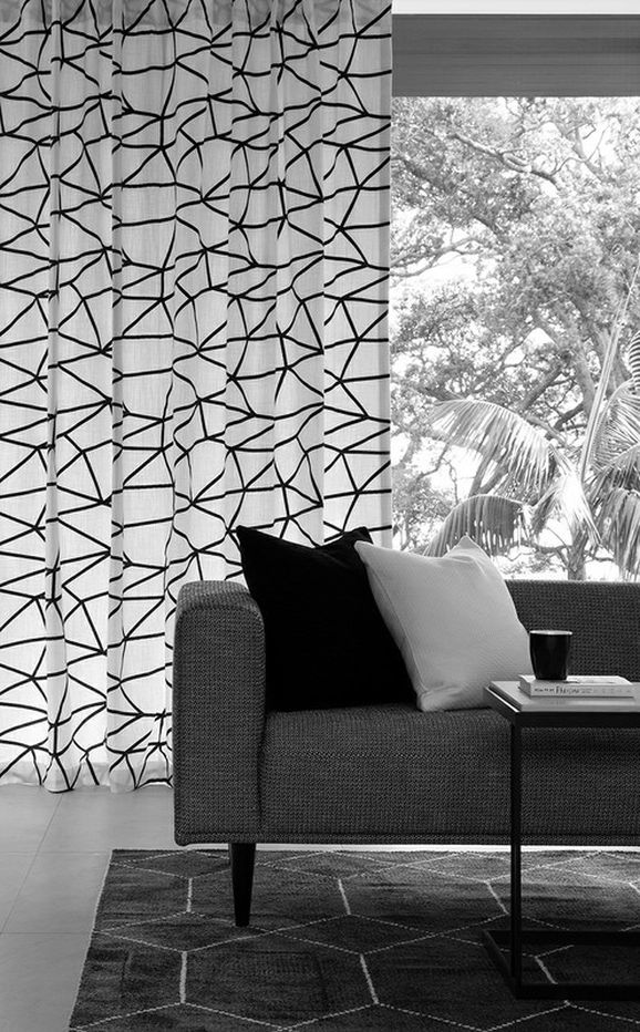 Photo of the fabric Cross Roads Mono in situ by James Dunlop. Use for Drapery, Accessory. Style of Embroidery, Geometric, Pattern