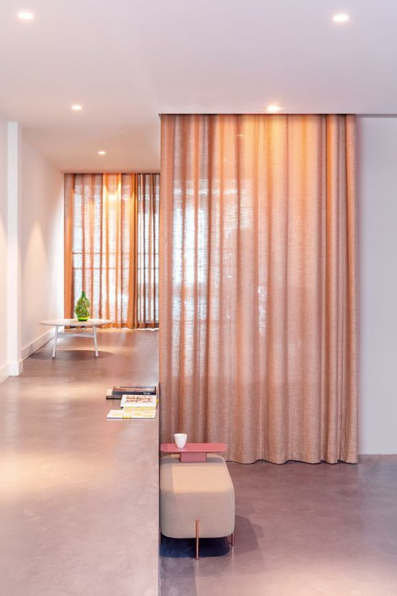 Photo of the fabric Motion Sand in situ by Zepel. Use for Sheer Curtains. Style of Plain, Sheer, Texture