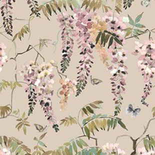 Photo of the fabric Papillon Wallpaper Powder swatch by Mokum. Use for Wall Covering. Style of Animals And Birds, Decorative, Floral And Botannical, Pattern