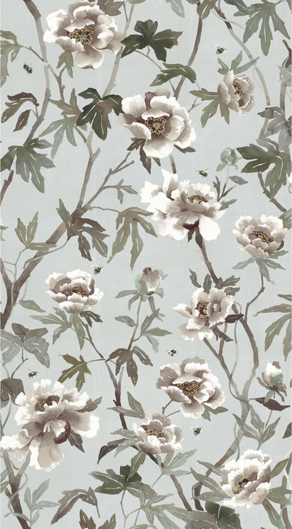 Photo of the fabric Peonia A Wallpaper Duckegg swatch by Mokum. Use for Wall Covering. Style of Animals And Birds, Decorative, Floral And Botannical, Pattern