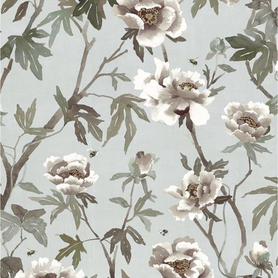 Photo of the fabric Peonia B Wallpaper Duckegg swatch by Mokum. Use for Wall Covering. Style of Animals And Birds, Decorative, Floral And Botannical, Pattern