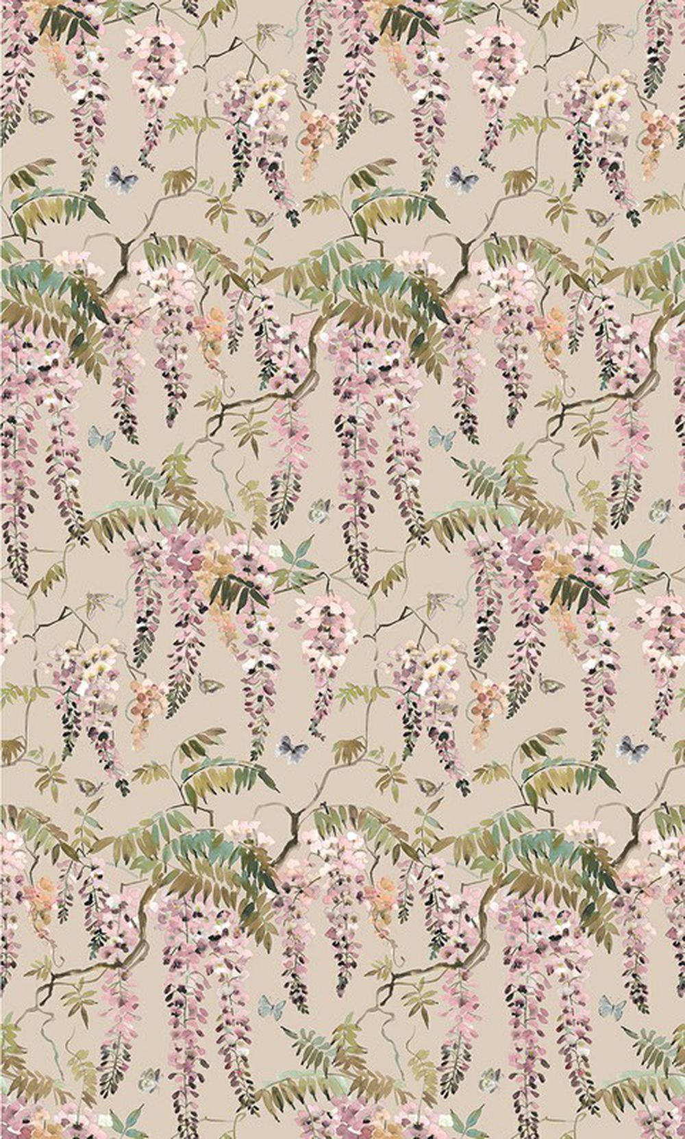 Photo of the fabric Papillon Powder swatch by Mokum. Use for Curtains, Upholstery Light Duty, Accessory, Top of Bed. Style of Animals And Birds, Floral And Botannical, Pattern, Print