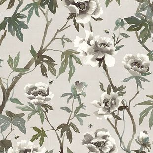 Photo of the fabric Peonia Parchment swatch by Mokum. Use for Drapery, Accessory. Style of Animals And Birds, Decorative, Floral And Botannical, Pattern
