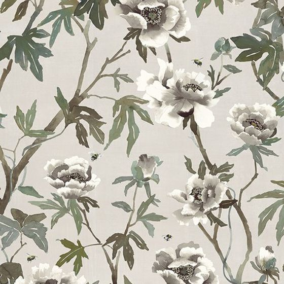 Photo of the fabric Peonia Parchment swatch by Mokum. Use for Curtains, Accessory. Style of Animals And Birds, Decorative, Floral And Botannical, Pattern