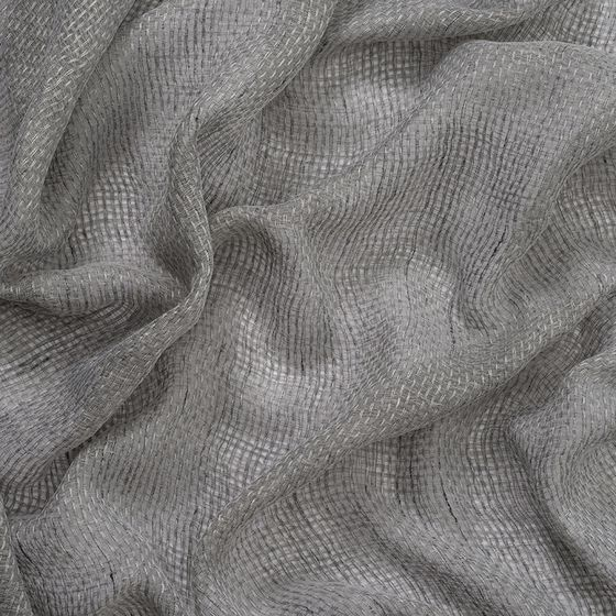 Photo of the fabric Kensho* Dove Grey swatch by Mokum. Use for Sheer Curtains. Style of Plain, Sheer