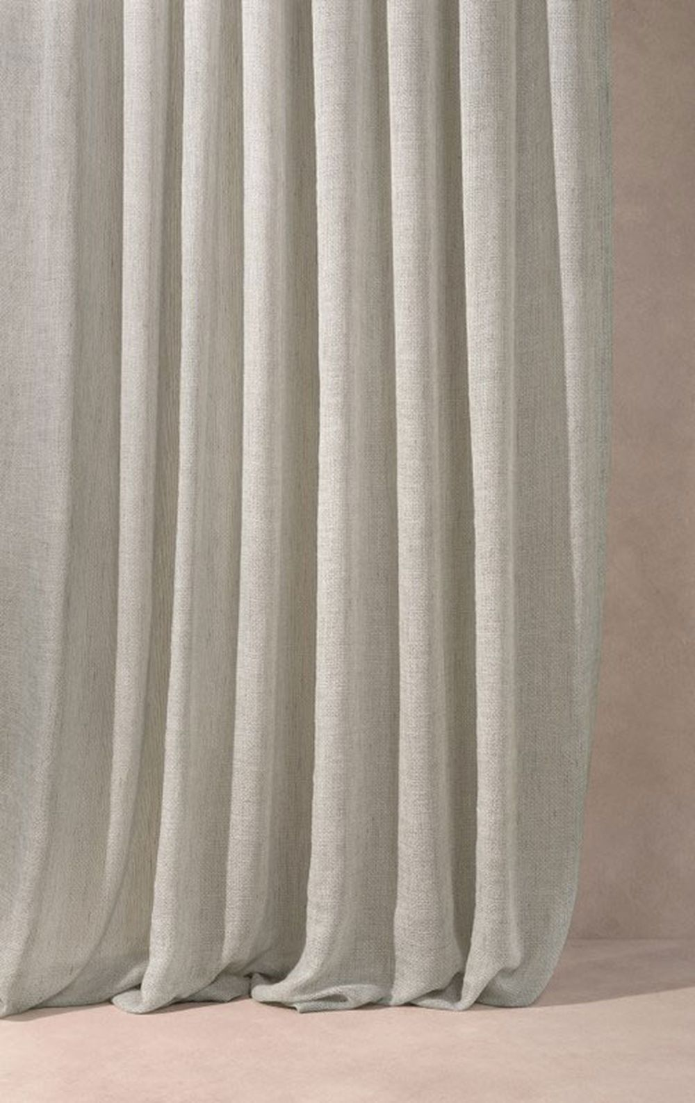Photo of the fabric Kensho* Oyster in situ by Mokum. Use for Drapery Sheer. Style of Plain, Sheer
