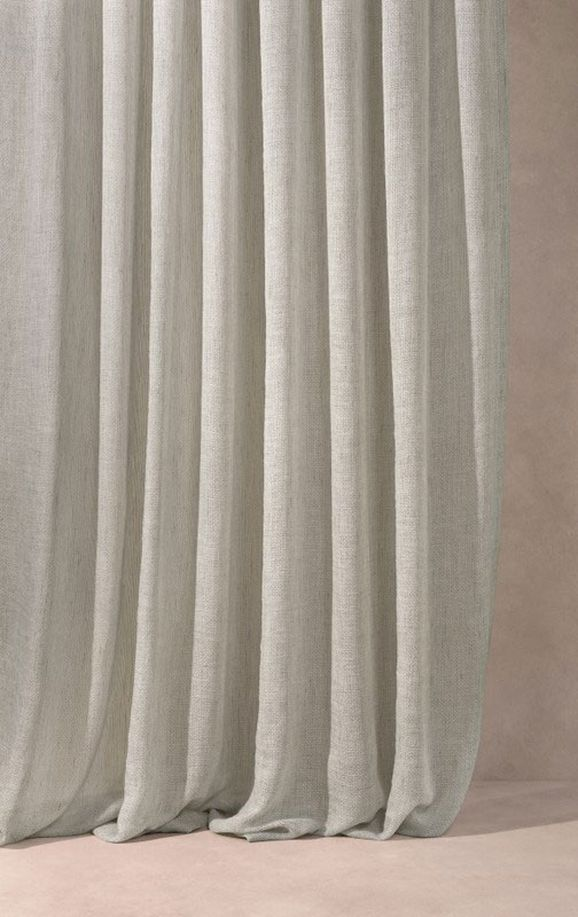 Photo of the fabric Kensho* Pearl in situ by Mokum. Use for Curtains. Style of Plain, Sheer