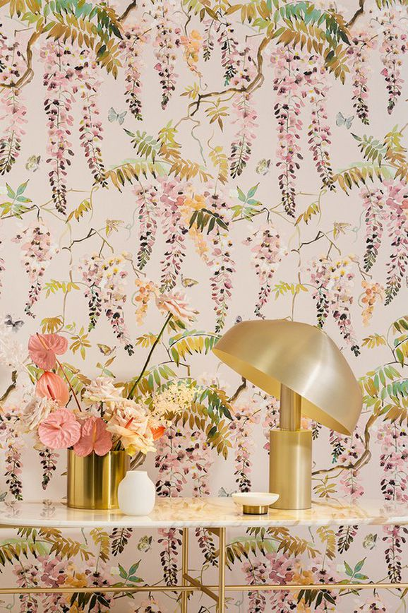 Photo of the fabric Papillon Wallpaper Powder in situ by Mokum. Use for Wall Covering. Style of Animals And Birds, Decorative, Floral And Botannical, Pattern