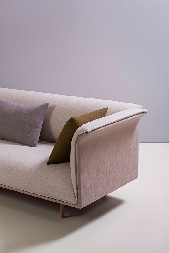 Photo of the fabric Allium Antique Rose in situ by Mokum. Use for Upholstery Heavy Duty, Accessory. Style of Plain, Texture