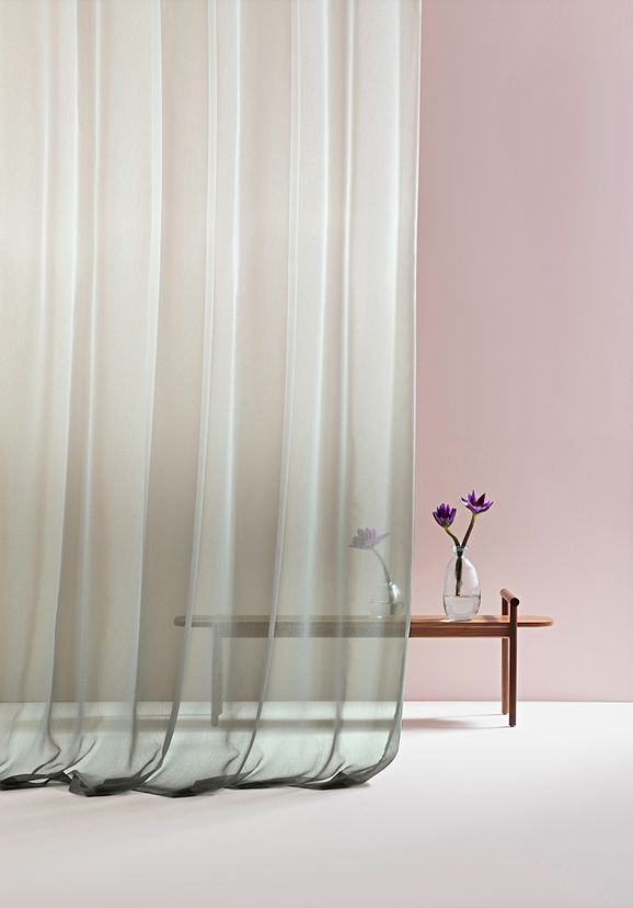 Photo of the fabric Ombre* Mist in situ by Mokum. Use for Drapery Sheer. Style of Decorative, Pattern, Print, Sheer