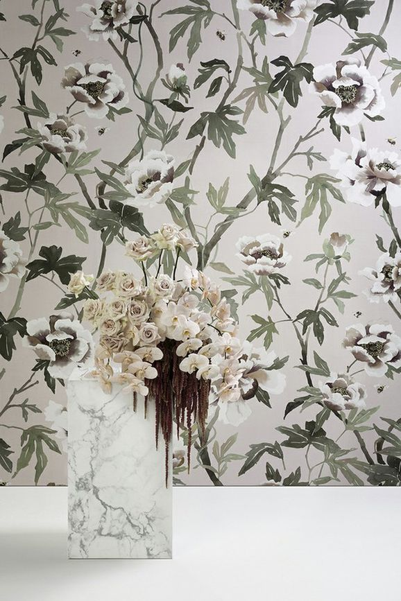 Photo of the fabric Peonia A Wallpaper Duckegg in situ by Mokum. Use for Wall Covering. Style of Animals And Birds, Decorative, Floral And Botannical, Pattern