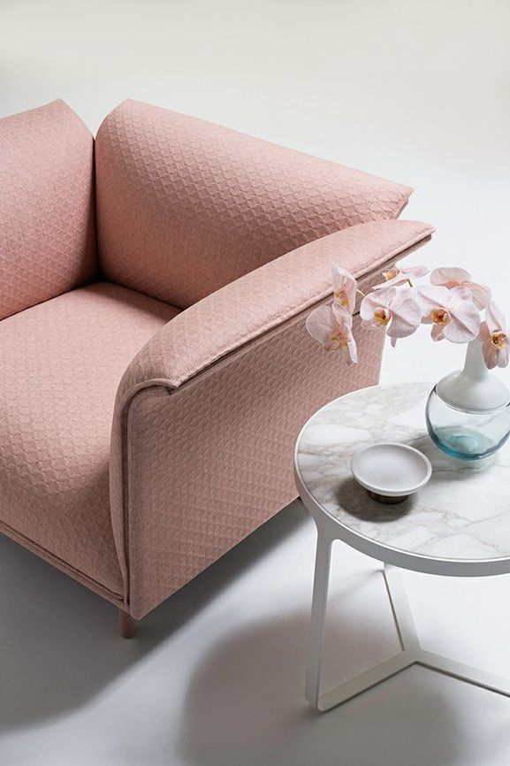 Photo of the fabric Topiary Blush in situ by Mokum. Use for Upholstery Heavy Duty, Accessory. Style of Geometric, Pattern