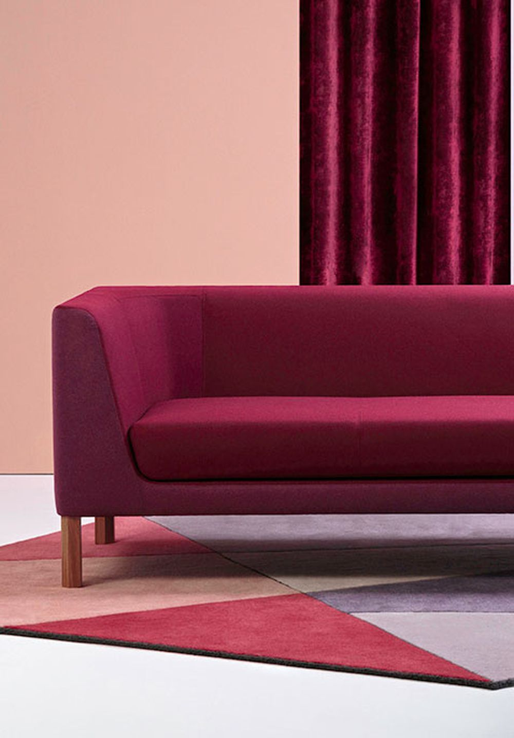 Photo of the fabric Como Bordeaux in situ by Mokum. Use for Upholstery Heavy Duty, Accessory. Style of Plain, Texture