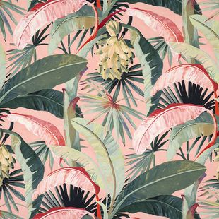Photo of the fabric Tropicalia Coral swatch by Catherine Martin by Mokum. Use for Upholstery Heavy Duty, Accessory. Style of Decorative, Floral And Botannical, Pattern, Print