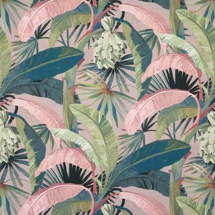 Photo of the fabric Tropicalia Hollywood swatch by Catherine Martin by Mokum. Use for Upholstery Heavy Duty, Accessory. Style of Decorative, Floral And Botannical, Pattern, Print