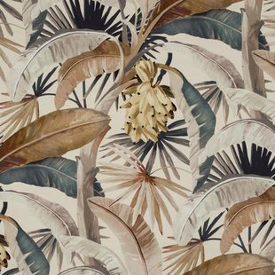 Photo of the fabric Tropicalia Gilver swatch by Catherine Martin by Mokum. Use for Upholstery Heavy Duty, Accessory. Style of Decorative, Floral And Botannical, Pattern, Print