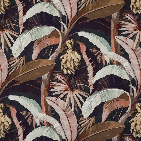 Photo of the fabric Tropicalia Sepia swatch by Catherine Martin by Mokum. Use for Upholstery Heavy Duty, Accessory. Style of Decorative, Floral And Botannical, Pattern, Print
