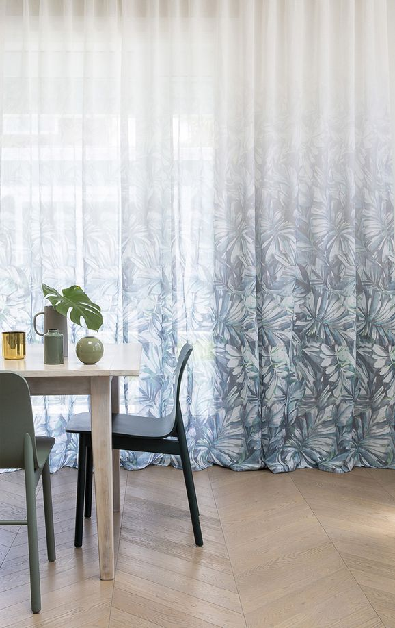 Photo of the fabric Pacific* Evergreen in situ by James Dunlop. Use for Drapery. Style of Floral And Botannical, Pattern, Print