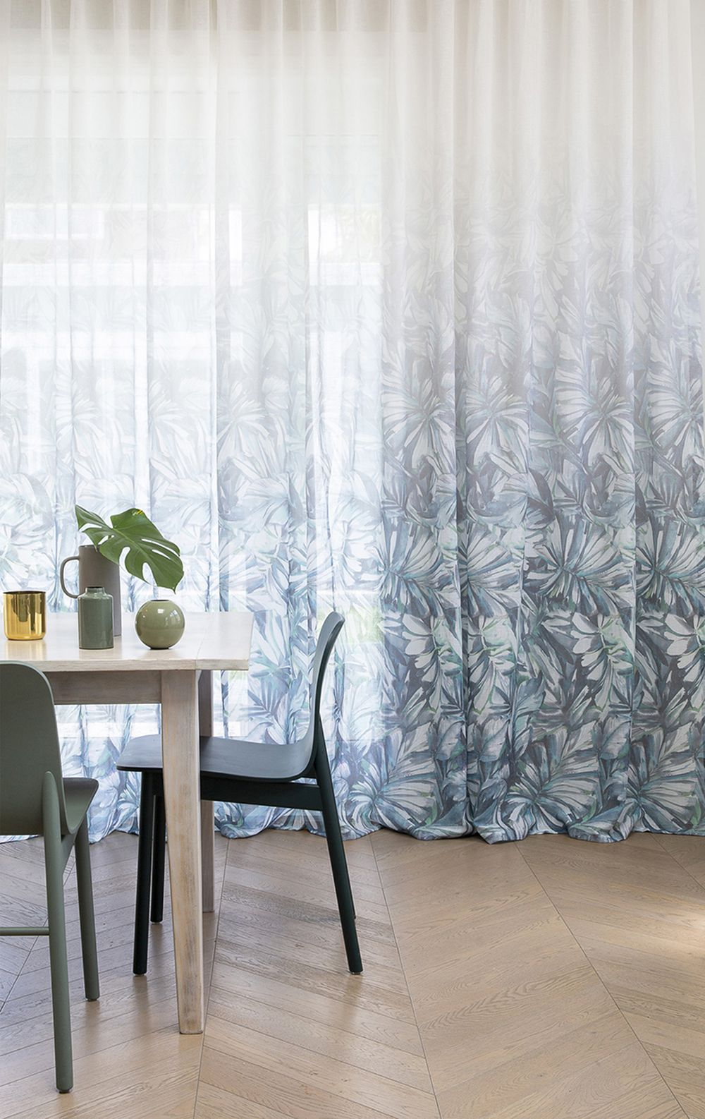 Photo of the fabric Pacific* Paua in situ by James Dunlop. Use for Drapery. Style of Floral And Botannical, Pattern, Print