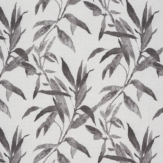 Photo of the fabric Tropical Charcoal swatch by James Dunlop Essentials. Use for Curtains. Style of Floral And Botannical, Pattern, Print