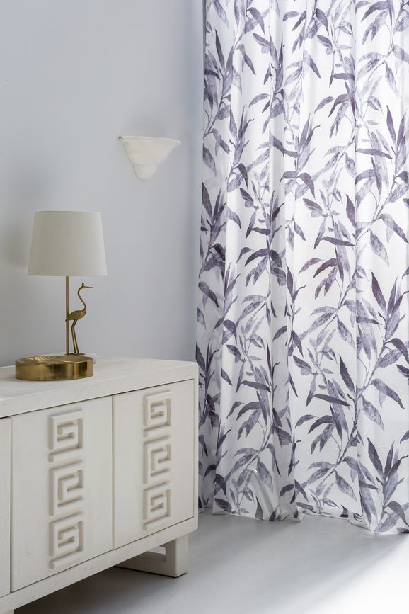 Photo of the fabric Tropical Charcoal in situ by James Dunlop Essentials. Use for Curtains. Style of Floral And Botannical, Pattern, Print