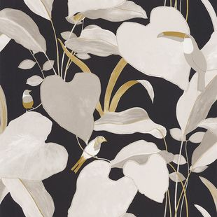 Photo of the fabric Amazonia Wallpaper 10142 10142 12 02 swatch by James Dunlop. Use for Wall Covering. Style of Decorative, Floral And Botannical, Pattern