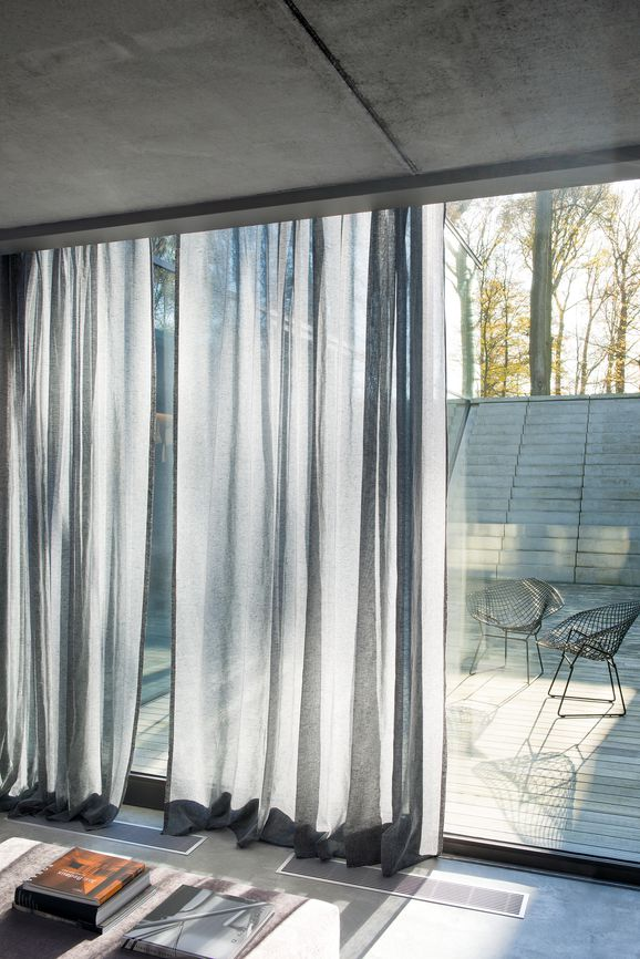 Photo of the fabric Allusion Linen in situ by Zepel. Use for Sheer Curtains. Style of Plain, Sheer
