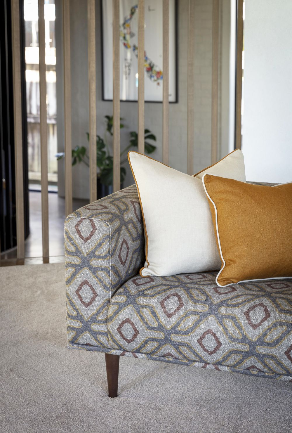 Photo of the fabric Enhance Muse in situ by James Dunlop. Use for Upholstery Medium Duty, Accessory. Style of Geometric, Pattern, Print