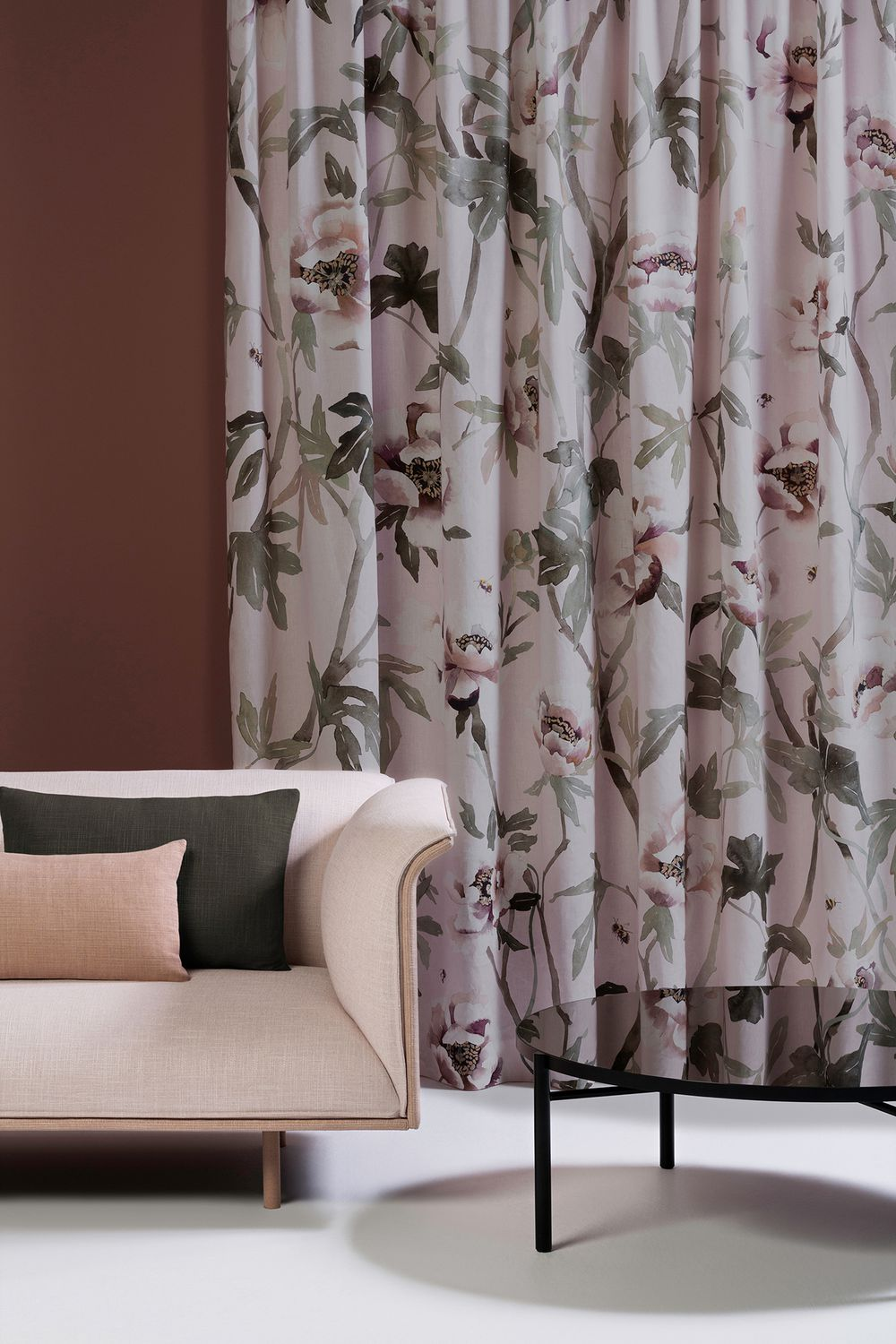 Photo of the fabric Peonia Parchment in situ by Mokum. Use for Drapery, Accessory. Style of Animals And Birds, Decorative, Floral And Botannical, Pattern